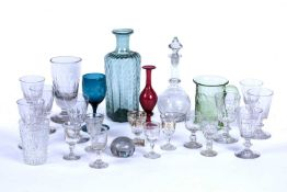 A collection of glassware, to include a 19th century ale glass with faceted sides, a matched set