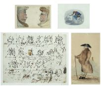 William Evans of Eton (1798-1877) Stick figures dancing, pen and inks, inscribed 'W Evans' on