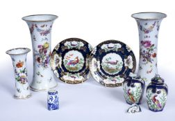 A group of 19th century ceramics to include a pair of Dresden vases, 26.5cm high, another 17cm high,