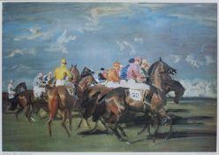 After Sir Alfred Munnings - The Start, Newmarket 1951, 46 x 66cm, framed