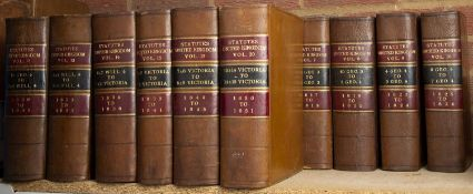 Statutes of the United Kingdom (1801-1851). Vols. 1 (pub 1804)-10, 12-15, 17-20. Small Fo. Full calf