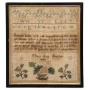 A traditional child's needlework sampler by Mary Ann Brasher 1827 with alphabet, rhyme and vase of
