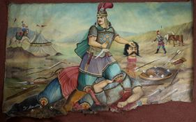 A large 19th century Middle Eastern oil painting depicting a battle scene with graphic detail and