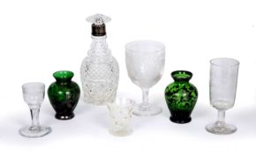 A group of seven pieces of Antique glass to include a silver mounted decanter with mushroom stopper,
