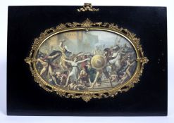 A 19th century oval print of a classical battle scene with a gilt metal and ebonised frame with