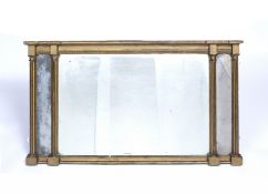 A 19th century giltwood three sectional overmantel mirror with fluted pilasters, 109 x 60cm