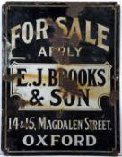A vintage enamel For Sale sign, for E.J. Brooks & Son, Oxford, 56 x 43cm