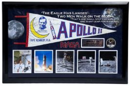 A commemorative Nasa Apollo II pennant, signed by Neil Armstrong, Buzz Aldrin and Michael Collins,