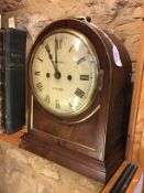 A Regency rosewood bracket clock with circular white dial signed Perigal, with brass beading and