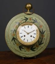 A French 19th century green painted toleware wall clock the circular case with ring suspension and