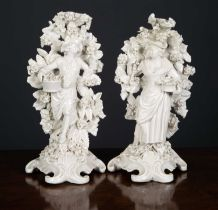 A pair of late 18th century Plymouth porcelain figures, formed as a man and a woman each holding a