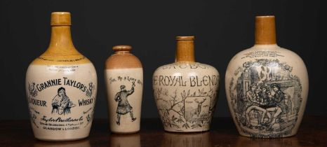 A Victorian stoneware whiskey jar by H Kennedy of Glasgow, with motto 'Auld Lang Syne' with