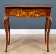 An early 20th century floral and foliate inlaid mahogany writing desk with ormolu mounts and