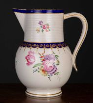 A late 18th century Royal Crown Derby ale jug, with blue and gilt decoration and central floral