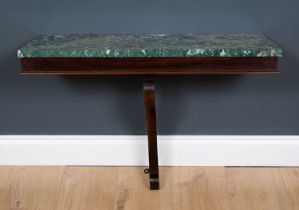 A 19th century rosewood marble topped console table with shaped bracket support, 73cm wide x 29cm