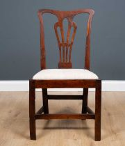 A Georgian III country made yew wood dining chair with pierced splat back and inset seat, 50.5cm