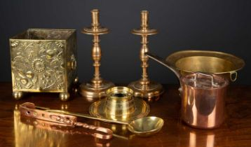 A brass capstan inkwell, 19cm diameter x 5cm high, together with further metalware comprising; a