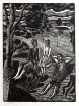 Eric Ravilious (1903-1942) Children in a Park, wood engraving, numbered IV/XXV, 17 x 12cm