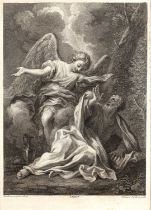 Francesco Bartolozzi after Ant Dominicus Gabbiani The Angel Appearing to Elijah, etching,
