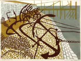 Peter A Green (20th century) 'Sea Wall and Anchors', linocut, pencil signed in the margin, titled