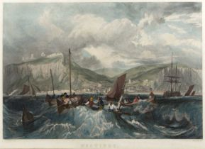 R. Wallis after J.M.W. Turner Hastings, engraving, hand-coloured, 40 x 58cm