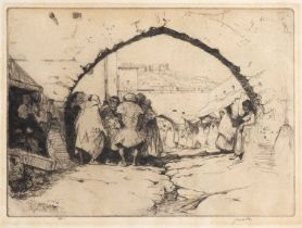 James McBey (1883-1959) 'Jewish Quarter Tetuan', etching, signed in the margin, 20 x 25cm; and one