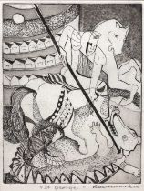 Janina Baranowska (b.1925) 'St. George', etching, pencil signed and titled in the margin, 17 x 13cm