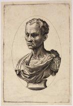 Agostino de Musi, called Veneziano (Italian c1490 - c1540) Cesar, an early 16th century engraving on