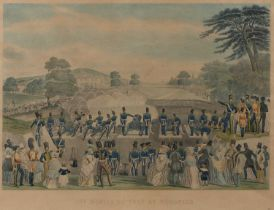 C Hunt after T Jones The Mortar Battery at Woolwich, aquatint engraving, hand-coloured, published by