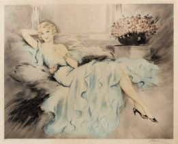 20th century American school An elegant reclining beauty, etching with aquatint, indistinctly pencil