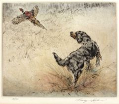 Henry Wilkinson (1921-2011) A Gordon Setter and pheasant, etching, pencil signed in the margin and