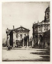 Albany E. Howarth (b.1872) Broad Street and The Clarendon Building, Oxford, etching, pencil signed