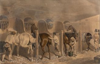 After John Frederick Herring (Snr) 'The Hunting Stud', aquatint engraving, hand-coloured, 43 x 67cm;