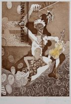 Tom Phillips (b.1937) Orpheus, signed and numbered in blue crayon, etching and aquatint, 48 x