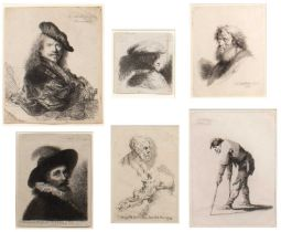 Thomas Worlidge after Rembrandt Self Portrait, etching, 16 x 13cm; and five further similar, varying