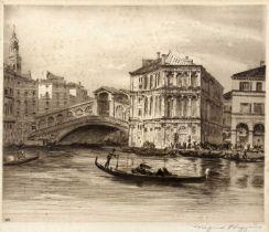 Wilfrid Hoggins (b.1873) The Rialto Bridge, Venice, etching, pencil signed in the margin, 23 x 28.