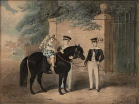Fred Robinson The pony ride, lithograph, hand-coloured, signed and inscribed 'lith 1847', 21 x 28cm