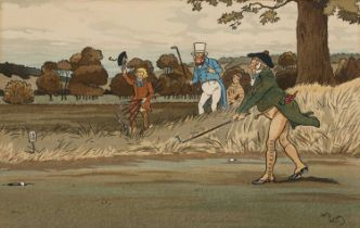 Harry Eliott (1882-1959) Golfing scene, colour lithograph, 21 x 33cm
