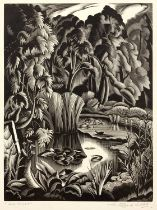 Clifford Webb (1895-1972) 'The Pool', wood engraving, pencil signed in the margin and titled,