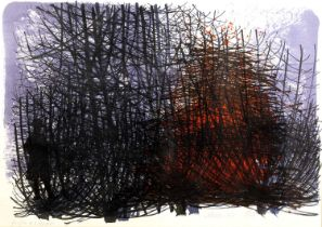Bernard Cheese (1925-2013) Bonfire in a hedgerow, lithograph in colours, pencil signed, titled,