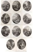Thomas Macklin (pubs) A set of eleven months of the year (lacks November), engraved by either W.N.