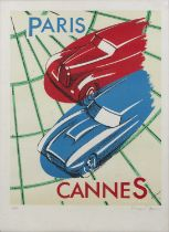 Vincent Geni (20th century) 'Paris, Cannes', lithograph in colours, pencil signed in the margin