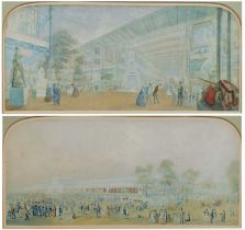 A pair of Baxter prints - Crystal Palace and The Great Exhibition, 14 x 32cm (2)