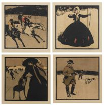 Sir William Nicholson 'Racing', 'Archery', 'Shooting' and 'Skating', a set of four lithographas in