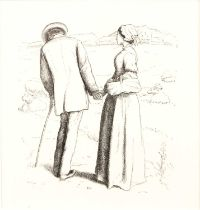 After John Everett MillaisA loving couple in a landscape, photogravure, 10.5 x 10cm Ex. The Aidan