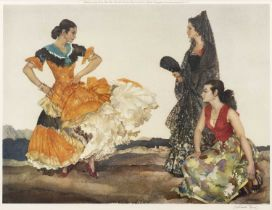 After Sir William Russell Flint The Dance of a Thousand Flounces, print in colours, pencil signed by