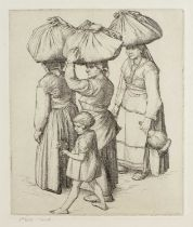 20th century English school Italian women carrying bundles, etching 5th state trial proof, inscribed