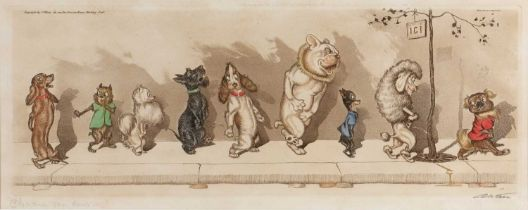 Boris O'Klein (1893-1985) 'Chacun Son Dour', etching and aquatint with hand-colouring, signed and