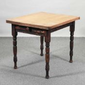A Victorian scrubbed pine kitchen table
