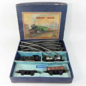 A mid 20th century Hornby o gauge toy train set, boxed